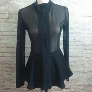 Windsor Black Mesh Illusion Peplum Jacket
